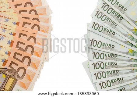 100 euro and 50 euro note isolated