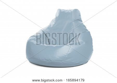 Right side view of nice new and soft blue beanbag isolated on white background