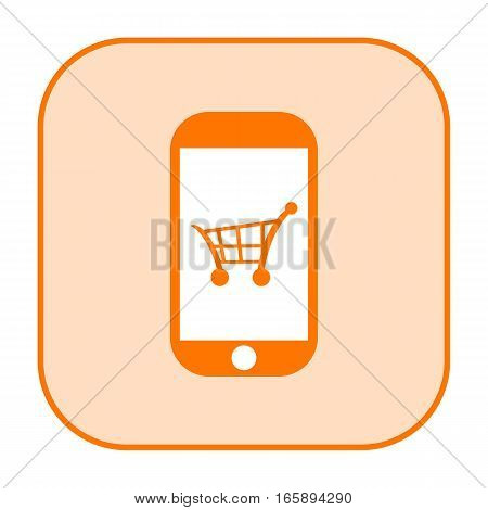 Mobile shopping icon with consumer cart on a smart phone touch screen