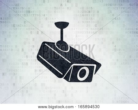 Protection concept: Painted black Cctv Camera icon on Digital Data Paper background