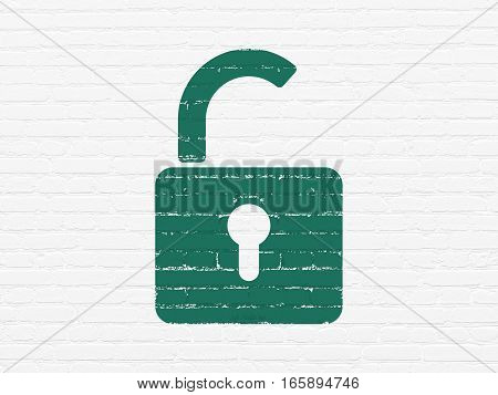 Security concept: Painted green Opened Padlock icon on White Brick wall background