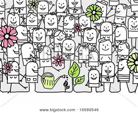 hurray for spring days - hand drawn cartoon card