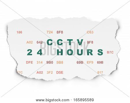 Privacy concept: Painted green text CCTV 24 hours on Torn Paper background with  Hexadecimal Code