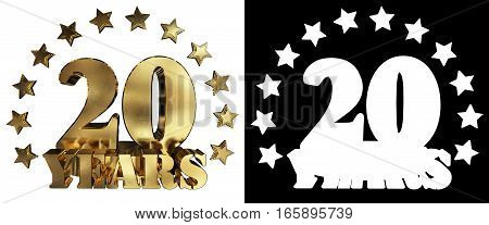 Golden digit twenty and the word of the year decorated with stars. 3D illustration