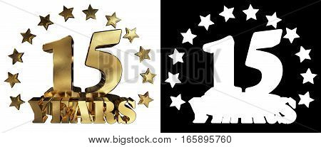 Golden digit fifteen and the word of the year decorated with stars. 3D illustration
