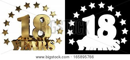 Golden digit eighteen and the word of the year decorated with stars. 3D illustration