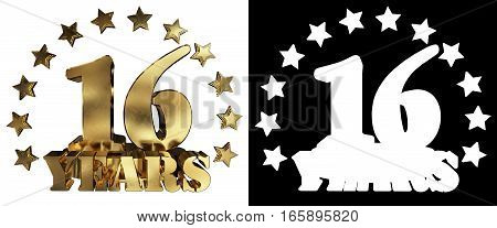 Golden digit sixteen and the word of the year decorated with stars. 3D illustration