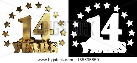 Golden digit fourteen and the word of the year decorated with stars. 3D illustration