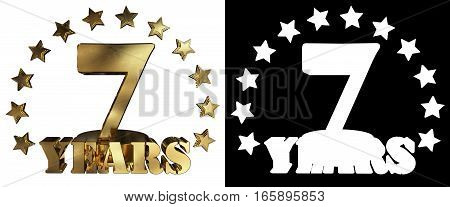 Golden digit seven and the word of the year decorated with stars. 3D illustration