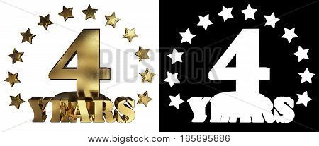 Golden digit four and the word of the year decorated with stars. 3D illustration