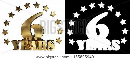 Golden digit six and the word of the year decorated with stars. 3D illustration
