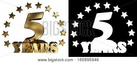 Golden digit five and the word of the year decorated with stars. 3D illustration