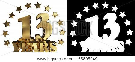 Golden digit thirteen and the word of the year decorated with stars. 3D illustration