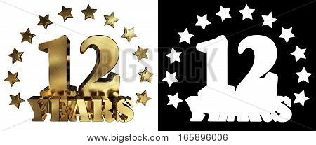 Golden digit twelve and the word of the year decorated with stars. 3D illustration