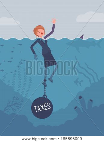 Businesswoman drowning chained with a weight Taxes, involved in tax affairs, high overall tax burden, small business seeking for supports of government. Cartoon flat-style concept illustration