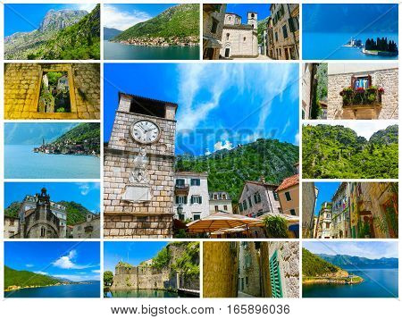 The collage from images of Kotor in a beautiful summer day, Montenegro
