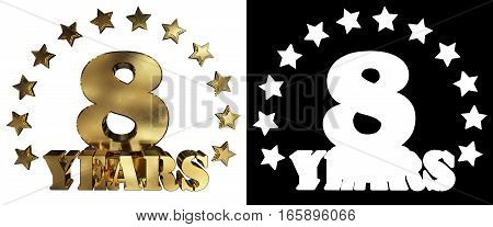 Golden digit eight and the word of the year decorated with stars. 3D illustration