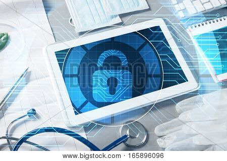 White tablet pc and access security concept on media screen