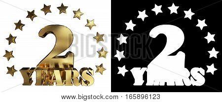 Golden digit two and the word of the year decorated with stars. 3D illustration