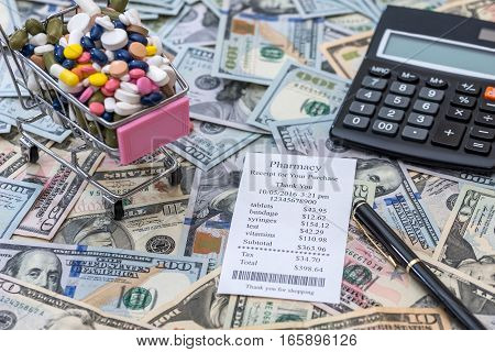 money with pills. medical concept close up