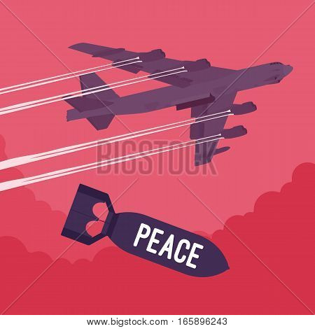 Aggressive heavy bomber aircraft dropping the bomb Peace, carring the operation to attack people, destroy life, targeting on land from air, getting freedom via fear and violence, unwilling compromise