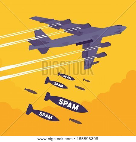 Aggressive heavy bomber aircraft dropping the bombs Spam, carring the operation to attack people, targeting on land from air, frustration with undesired electronic messages, advertising