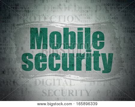 Safety concept: Painted green text Mobile Security on Digital Data Paper background with   Tag Cloud