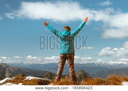 successful sport woman in mountains Concept of motion motivation inspiration