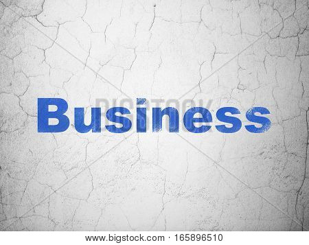 Finance concept: Blue Business on textured concrete wall background