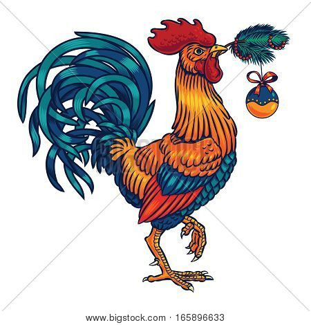 Vector color illustration of a rooster holding in its beak a fir branch. Cock symbol 2017 year