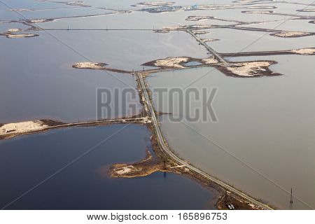 It is a top view of the oil field which is located on the Samotlor lake.