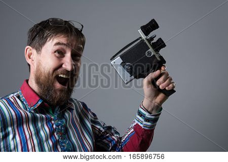 Happy Bearded Man Old Retro Film Camera