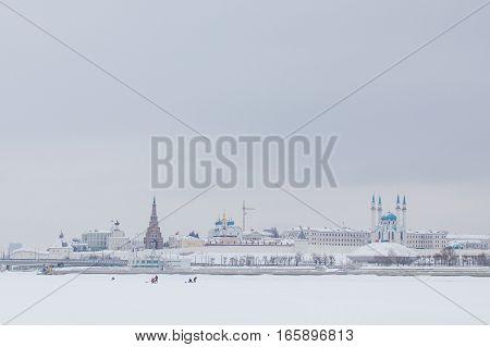 KAZAN, RUSSIA - JANUARY 19, 2017: Kazan Kremlin at snow winter day horizontal