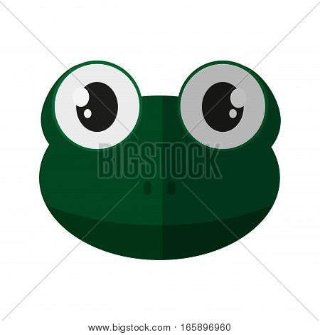 cute frog animal cartoon icon over white background. colorful design. vector illustration