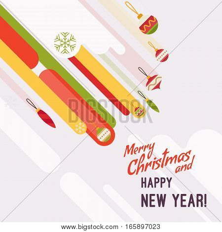 New Year and Christmas card with copyspace for texting. White background, gifts and abstract shapes. Cartoon vector flat-style graphic template