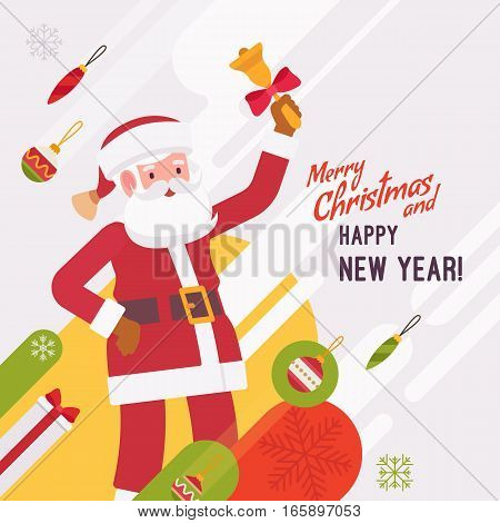 New Year and Christmas card with copyspace for texting. White background, cute Santa Claus waving his hand holding a bell. Cartoon vector flat-style graphic template