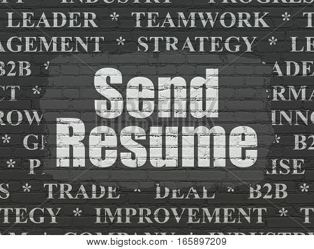 Business concept: Painted white text Send Resume on Black Brick wall background with  Tag Cloud
