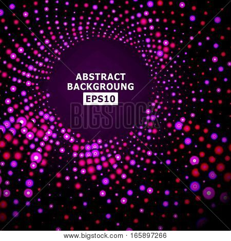 Bright Dotted Background Vector. Geometric Flash. Glowing Red Backdrop Halftone Vector