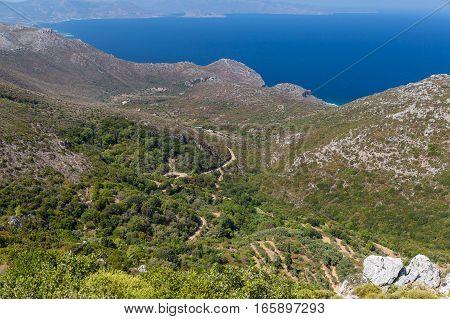 Mountain landscape near Neapoli Vion City, Greece