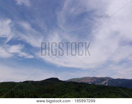 Summer mountains green grass and blue sky landscape