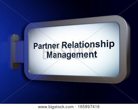 Business concept: Partner Relationship Management on advertising billboard background, 3D rendering