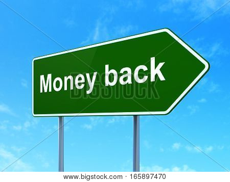 Finance concept: Money Back on green road highway sign, clear blue sky background, 3D rendering