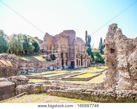 Hdr Villa Adriano Ruins In Tivoli