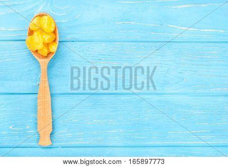 Dried Yellow Kumquat In Spoon