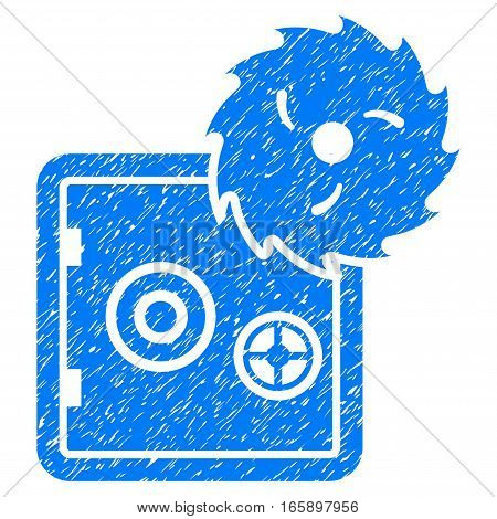 Bank Safe Hacking Theft grainy textured icon for overlay watermark stamps. Flat symbol with dust texture. Dotted vector blue ink rubber seal stamp with grunge design on a white background.