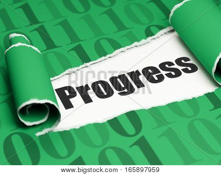 Finance concept: black text Progress under the curled piece of Green torn paper with  Binary Code, 3D rendering