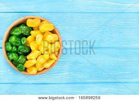 Bowl Of Dried Yellow And Green Kumquat