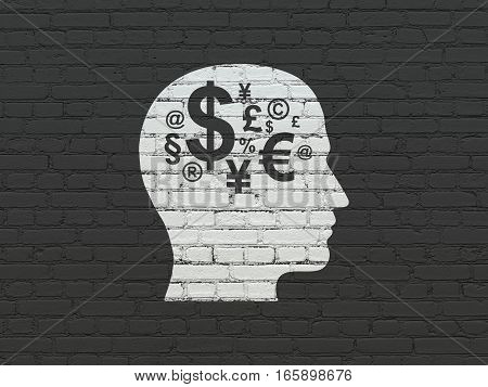 Business concept: Painted white Head With Finance Symbol icon on Black Brick wall background