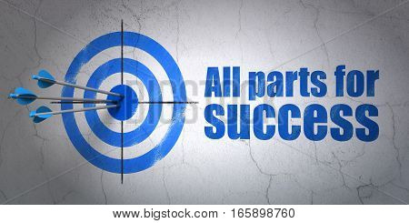 Success finance concept: arrows hitting the center of target, Blue All parts for Success on wall background, 3D rendering