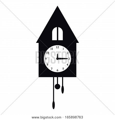 Old wall cuckoo clock icon. Simple illustration of old wall clock vector icon for web